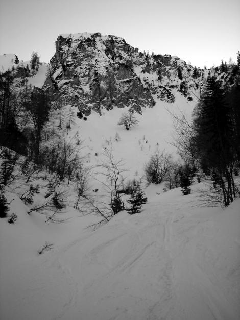 Foto: Manfred Karl / Ski Tour / Durch das Ostertal auf die Hörndlwand / Kurz vor dem Eintritt in den Wald / 28.01.2009 22:13:14