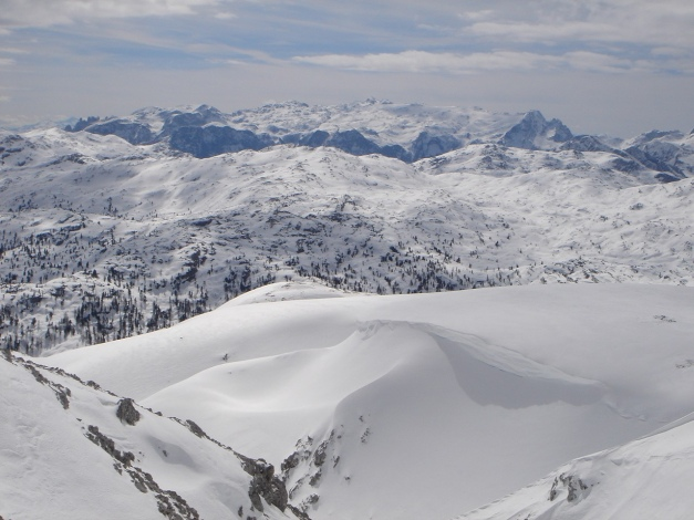 Foto: Manfred Karl / Ski Tour / Schneibstein, Bockskehl Abfahrt / Blick über das Hagengebirge zum Hochkönig / 28.01.2009 22:54:36