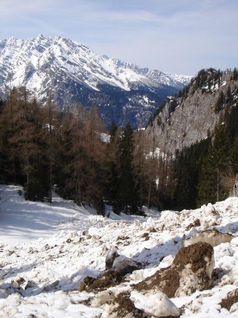 Foto: Manfred Karl / Ski Tour / Schneibstein, Bockskehl Abfahrt / Bei der Tour sollte man auf jeden Fall sichere Verhältnisse haben, das Foto beweist zur Genüge, dass man sich in lawinengefährlichem Gelände bewegt. / 28.01.2009 22:50:45