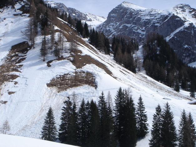 Foto: Manfred Karl / Ski Tour / Schneibstein, Bockskehl Abfahrt / Die Hänge oberhalb der Königstalalm sind zu Zeiten nicht ungefährlich / 28.01.2009 22:48:07