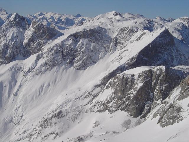 Foto: Manfred Karl / Ski Tour / Schartwand, 2339 m und Brietkogel, 2316 m / Blick auf die Talschlusshänge der Wengerau mit einigen lohnenden Schitouren / 29.01.2009 19:09:59