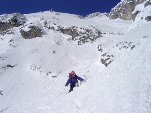 Foto: Manfred Karl / Ski Tour / Schartwand, 2339 m und Brietkogel, 2316 m / Einige Stellen in der Rinne sind etwa 40 Grad geneigt / 29.01.2009 19:02:51
