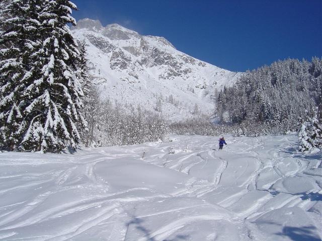 Foto: Manfred Karl / Ski Tour / Schartwand, 2339 m und Brietkogel, 2316 m / Im flachen Auslauf vor den Wiesen der Wengerau / 29.01.2009 19:00:01