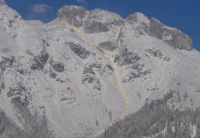 Foto: Manfred Karl / Ski Tour / Schartwand, 2339 m und Brietkogel, 2316 m / Gelbe Linie: Abfahrtsvariante direkt in die Wengerau / 29.01.2009 18:59:11