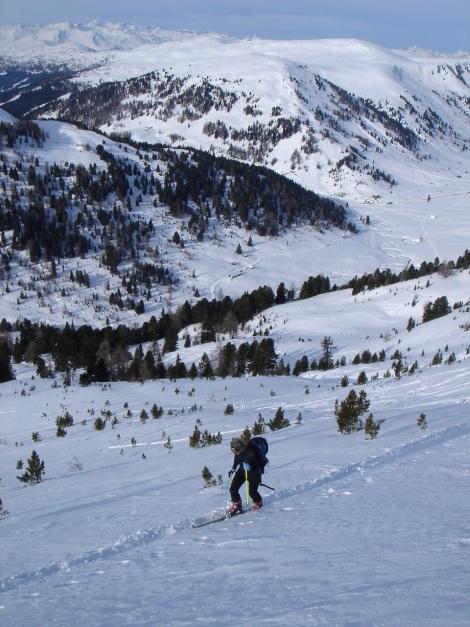 Foto: Manfred Karl / Ski Tour / Rosaninhöhe, 2280 m / Der steilere obere Teil, hier sollten sichere Schneeverhältnisse herrschen. / 29.01.2009 20:44:36