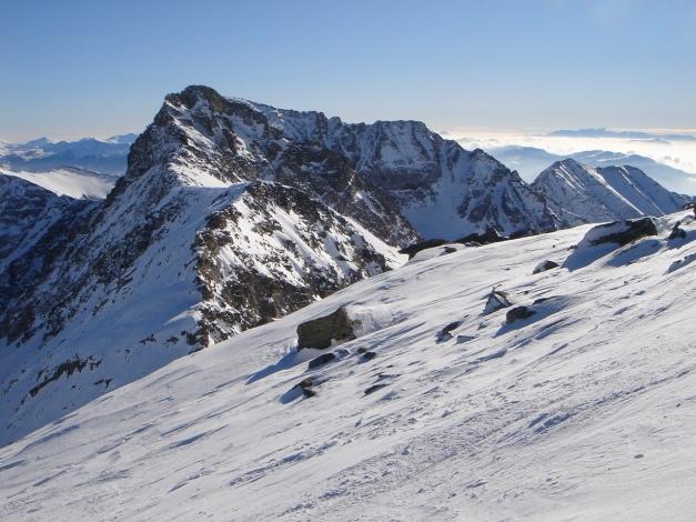 Foto: Manfred Karl / Ski Tour / Seemannwand, 2822 m / Blick über den Verbindungsgrat Seemannwand Richtung Reitereck (hier noch verdeckt durch die Elendspitze) / 29.01.2009 22:09:56