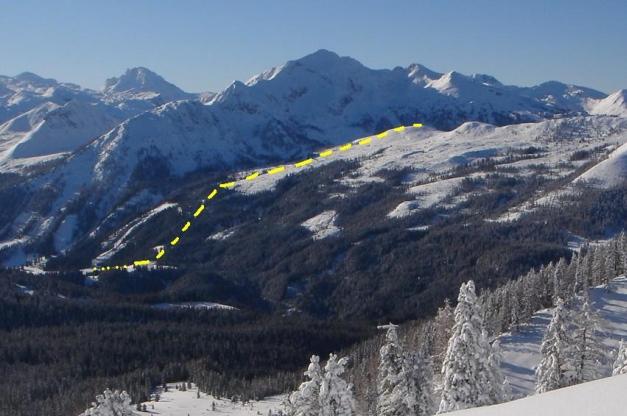Foto: Manfred Karl / Ski Tour / Leckriedel, 1846 m / Gelbe Linie: Anstieg/Abfahrt Leckriedel / 30.01.2009 22:16:21