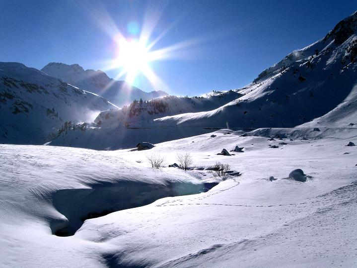 Foto: Andreas Koller / Ski Tour / Impressionen am Flüelapass (2606 m) / Blick nach SO Richtung Flüela Pass / 09.02.2009 01:00:27