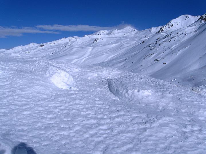 Foto: Andreas Koller / Ski Tour / Impressionen am Flüelapass (2606 m) / Die weiten S-Hänge des Jörihorn (2845 m), der Gipfel rechts der Bildmitte / 09.02.2009 00:57:34