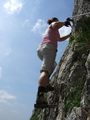 Foto: hofchri / Klettersteig Tour / Traunstein (1691 m) - Die Klettersteig-Quadrilogie / ausgesetzte Trittplatten (A/B) / 20.02.2009 20:19:43