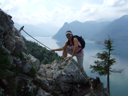 Foto: hofchri / Klettersteig Tour / Traunstein (1691 m) - Die Klettersteig-Quadrilogie / viele seilversicherte Passagen / 20.02.2009 20:20:09