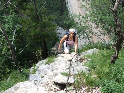 Foto: hofchri / Klettersteig Tour / Traunstein (1691 m) - Die Klettersteig-Quadrilogie / auf der Einstiegswand (B) am Naturfeundesteig / 20.02.2009 20:20:38
