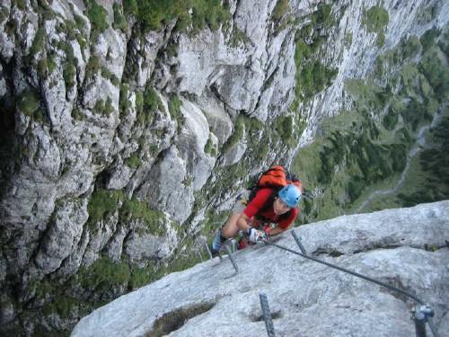 Foto: hofchri / Klettersteig Tour / Traunstein (1691 m) - Die Klettersteig-Quadrilogie / Steiler, glatter Pfeiler (D) / 20.02.2009 20:11:38