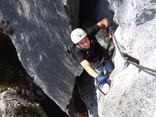 Foto: hofchri / Klettersteig Tour / Predigstuhl (1278 m) - Die Klettersteig-Trilogie / nach dem Spalt  sehr ausgesetzt (C) / 20.02.2009 20:33:28