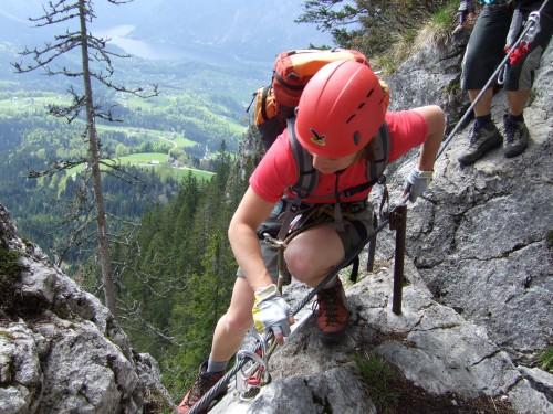 Foto: hofchri / Klettersteig Tour / Predigstuhl (1278 m) - Die Klettersteig-Trilogie / am exponierten Grat (B/C) zum Predigstuhl / 20.02.2009 20:34:27