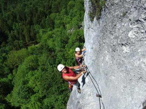 Foto: hofchri / Klettersteig Tour / Predigstuhl (1278 m) - Die Klettersteig-Trilogie / Querung mit Trittstiften (C) / 20.02.2009 20:37:06