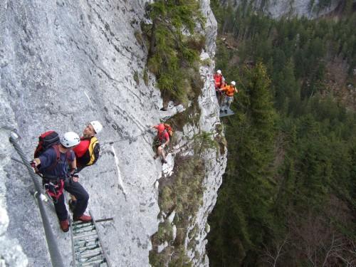 Foto: hofchri / Klettersteig Tour / Predigstuhl (1278 m) - Die Klettersteig-Trilogie / Blick zum Quergang / 20.02.2009 20:30:45