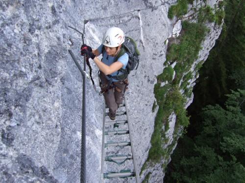 Foto: hofchri / Klettersteig Tour / Predigstuhl (1278 m) - Die Klettersteig-Trilogie / wackelige Leiter / 20.02.2009 20:31:01