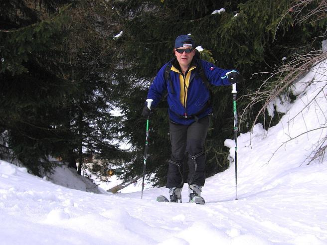 Foto: Andreas Koller / Ski Tour / Genusstour aufs Hochhorn (2623m) / Die Tour beginnt mit einem steilen Waldanstieg / 23.02.2009 00:28:44