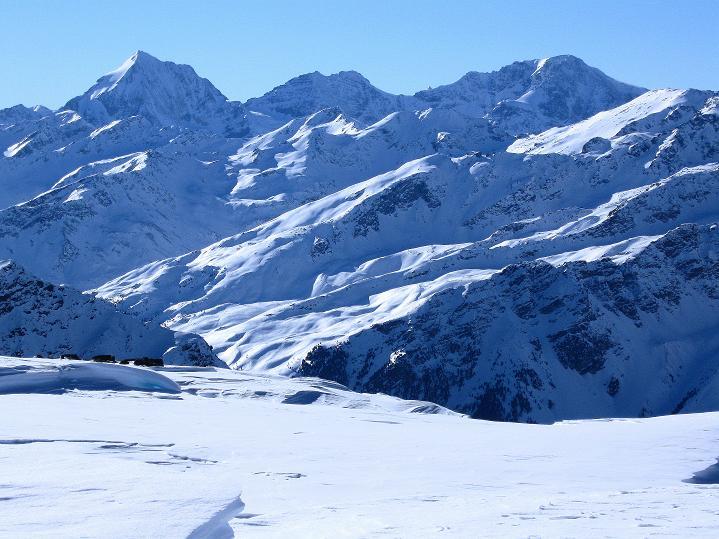 Foto: Andreas Koller / Ski Tour / Flimspitze (3113m) - Skidreitausender par excellence / Das Dreigestirn: Königspitze (3859 m), Zebru (3739 m) und König Ortler (3905 m) / 02.03.2009 19:24:58