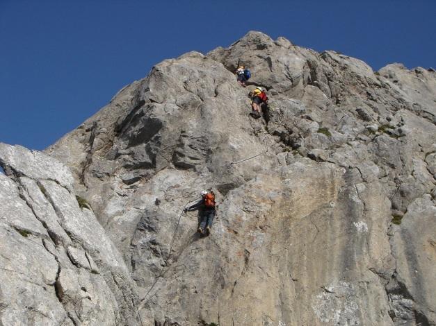 Foto: Manfred Karl / Klettersteig Tour / Cellon Via ferrata senza confine - Weg ohne Grenzen / Die etwas abdrängende Schlüsselstelle / 12.03.2009 21:39:07