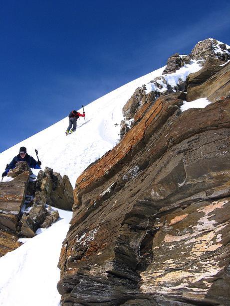 Foto: Andreas Koller / Ski Tour / Piz Tasna (3179m) und Piz Davo Lais (3027m) - Dreitausender über Scuol / Am steilen O-Grat / 15.03.2009 18:24:44