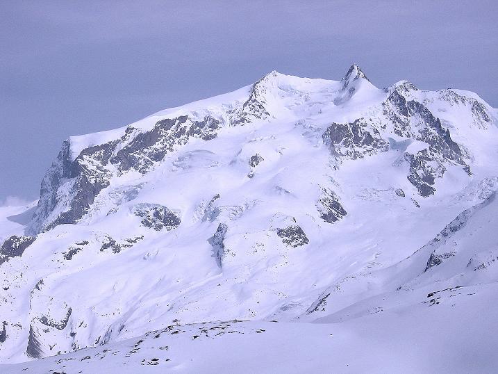 Foto: Andreas Koller / Schneeschuh Tour / Panorama-Schneeschuhtour auf die Gobba di Rollin (3899 m) / Monte Rosa: Nordend (4609 m) und Dufourspitze (4634 m) / 15.04.2009 23:44:38