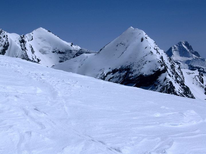 Foto: Andreas Koller / Ski Tour / Hoch über dem Gemmipass aufs Steghorn (3146m) / Balmhorn (3698 m), Rinderhorn (3448 m) und das formenschöne Bietschhorn (3934 m) / 16.04.2009 02:54:30