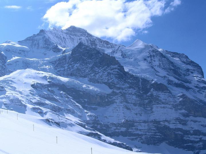 Foto: Andreas Koller / Ski Tour / Berner Alpen Durchquerung 1: Louwihorn (3777m) / Die Jungfrau (4158 m), darunter das Silberhorn (3695 m) / 16.04.2009 23:04:44