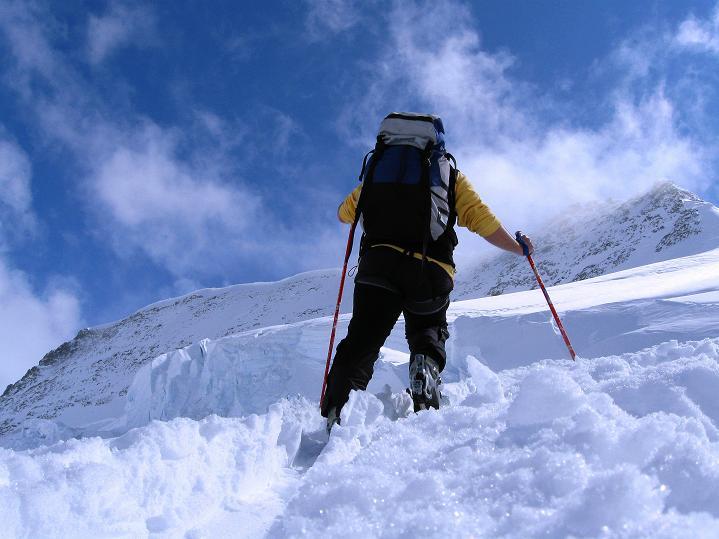 Foto: Andreas Koller / Ski Tour / Berner Alpen Durchquerung 1: Louwihorn (3777m) / Aufstieg ins Louwitor / 16.04.2009 22:54:28
