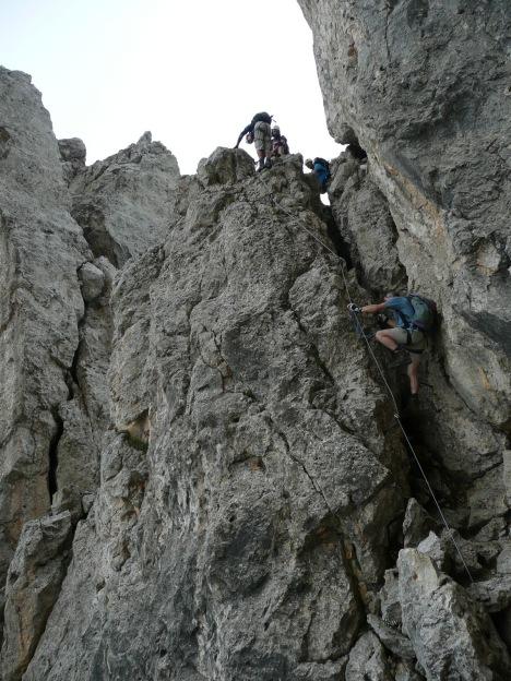 Foto: Manfred Karl / Klettersteig Tour / Via ferrata Masarè auf die Rotwand / Steiler Kamin / 12.05.2009 19:21:42