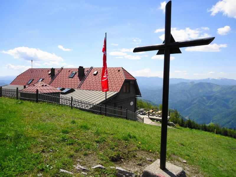 Foto: Günter Siegl / Wander Tour / Muckenkogel (1.248 m) und Hinteralm (1.313 m) / Gipfel Hinteralm und Traisner Hütte / 29.05.2014 08:45:53