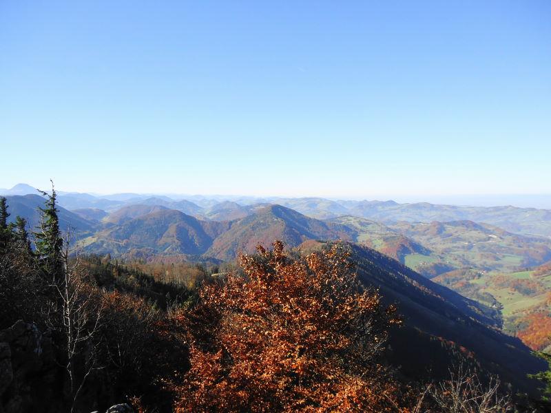 Foto: Günter Siegl / Wander Tour / Hohenstein (1.195 m) / Westblick, ganz links Ötscher und davor der Eisenstein / 20.11.2015 21:22:29