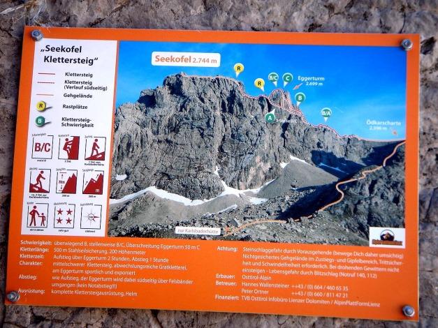 Foto: Manfred Karl / Klettersteig Tour / Seekofel Klettersteig / Infotafel beim Einstieg / 14.05.2009 23:13:33