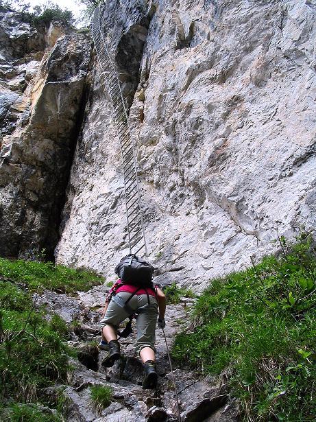 Foto: Andreas Koller / Klettersteig Tour / Klettersteig Siega (1510m) / Alternativanstieg über die Schleierfall-Leiter (überhängend!). / 04.06.2009 21:54:14