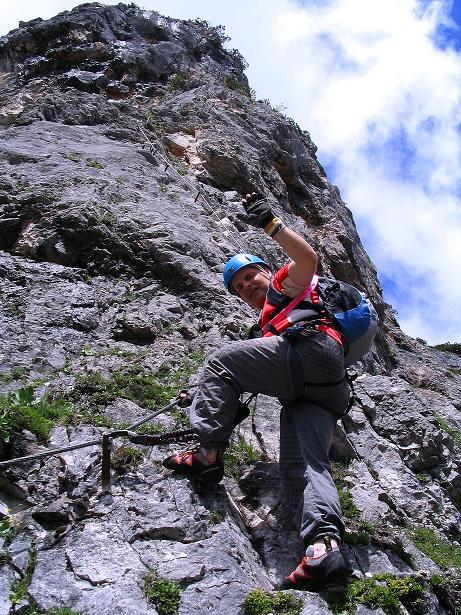 Foto: Andreas Koller / Klettersteig Tour / Klettersteig Siega (1510m) / Einstieg in die Wand / 04.06.2009 21:52:24