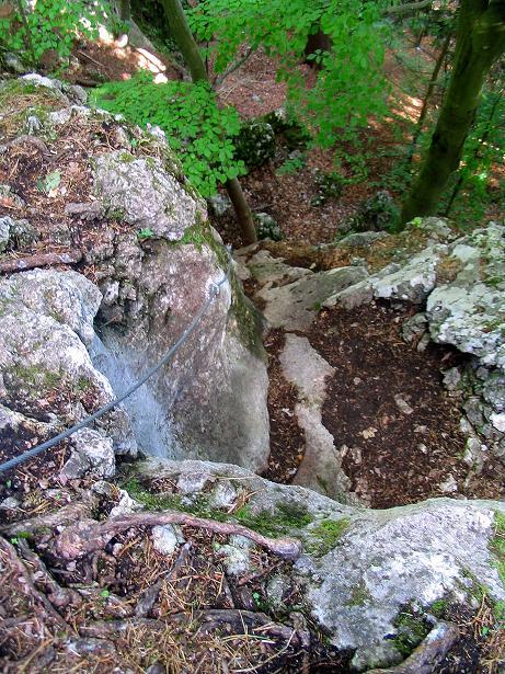 Foto: Andreas Koller / Klettersteig Tour / Klettersteig E 60 (758m) / Die Schlüsselstelle: der Überhang / 09.06.2009 00:00:10