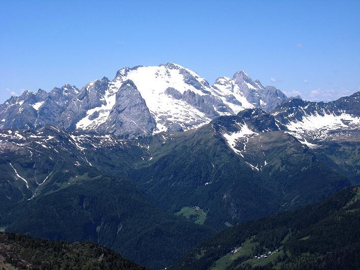 Foto: Andreas Koller / Klettersteig Tour / Via ferrata Averau neu (2649m) / Die Marmolada (3343 m) / 15.06.2009 23:49:57