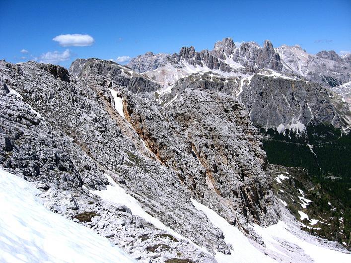 Foto: Andreas Koller / Klettersteig Tour / Via ferrata Averau neu (2649m) / Blick nach N in die Fanes / 15.06.2009 23:49:38