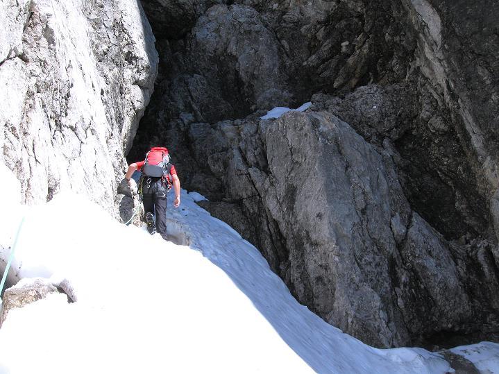 Foto: Andreas Koller / Wander Tour / Normalroute auf die Große Bischofsmütze (2459 m)  / Über Schnee zur Schlüsselstelle / 16.06.2009 23:31:18
