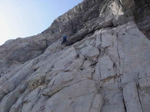 Foto: Manfred Karl / Klettersteig Tour / Hohe Warte – Weg der 26er - Überschreitung aus dem Wolayer Tal  / Einstiegswand / 17.07.2009 17:31:59