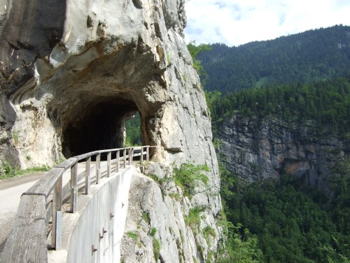 Foto: hofsab / Mountainbike Tour / Rund um den Plassen über Plankensteinalm (1530 m) und Gosauseen / Tunnel im Echerntal / 25.08.2009 12:53:36