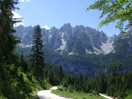 Foto: hofsab / Mountainbike Tour / Rund um den Plassen über Plankensteinalm (1530 m) und Gosauseen / Abfahrt zum Gosausee - Hintergund der Gosaukamm / 25.08.2009 12:56:23