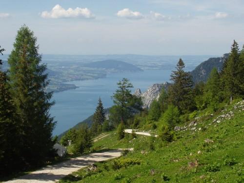 Foto: hofsab / Mountainbike Tour / Leonsbergalm (1410 m) über Schwarzensee / Aussicht zum Attersee / 25.08.2009 12:39:32