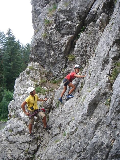 Foto: Manfred Karl / Klettersteig Tour / Klettersteige am Kanzianiberg / Früh übt sich was ein rechter Ferratist werden will. / 04.07.2009 13:18:22