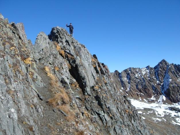 Foto: Manfred Karl / Wander Tour / Gratwanderung Böses Weibele – Tschadinhorn - Schönleitenspitze / Vor einer leichten Kletterstelle / 31.08.2009 20:17:26
