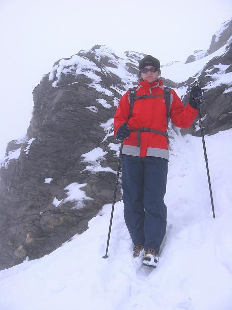 Foto: Andreas Koller / Wander Tour / Auf klassischer Route auf den Titlis (3239 m) / Die kurze Felsstufe unterhalb des Gipfels / 15.07.2009 19:24:49
