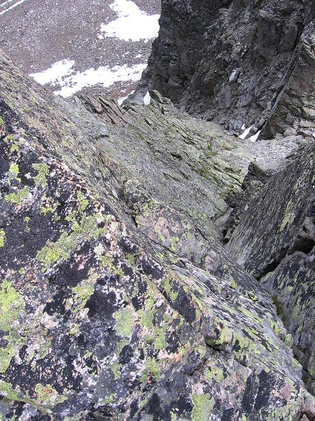 Foto: Andreas Koller / Kletter Tour / Überschreitung der Madatschtürme (2837m) / Die erste kurze IVer-Stelle (kann weiter östlich umklettert werden, dann III) / 16.07.2009 17:34:42