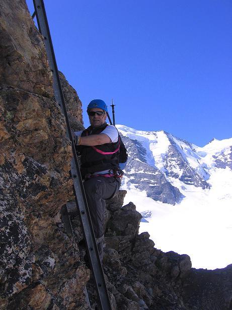Foto: Andreas Koller / Klettersteig Tour / Klettersteig Piz Trovat (3146m) / Der Einstieg mit einer Leiter / 18.07.2009 00:14:05