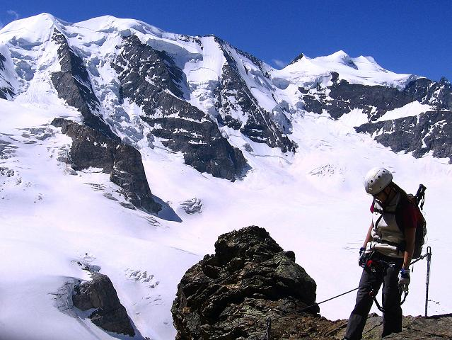 Foto: Andreas Koller / Klettersteig Tour / Klettersteig Piz Trovat (3146m) / Einstieg zur spektakulären Brücke / 18.07.2009 00:09:50